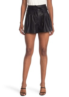 Blank Belted Pleated Faux Leather Shorts