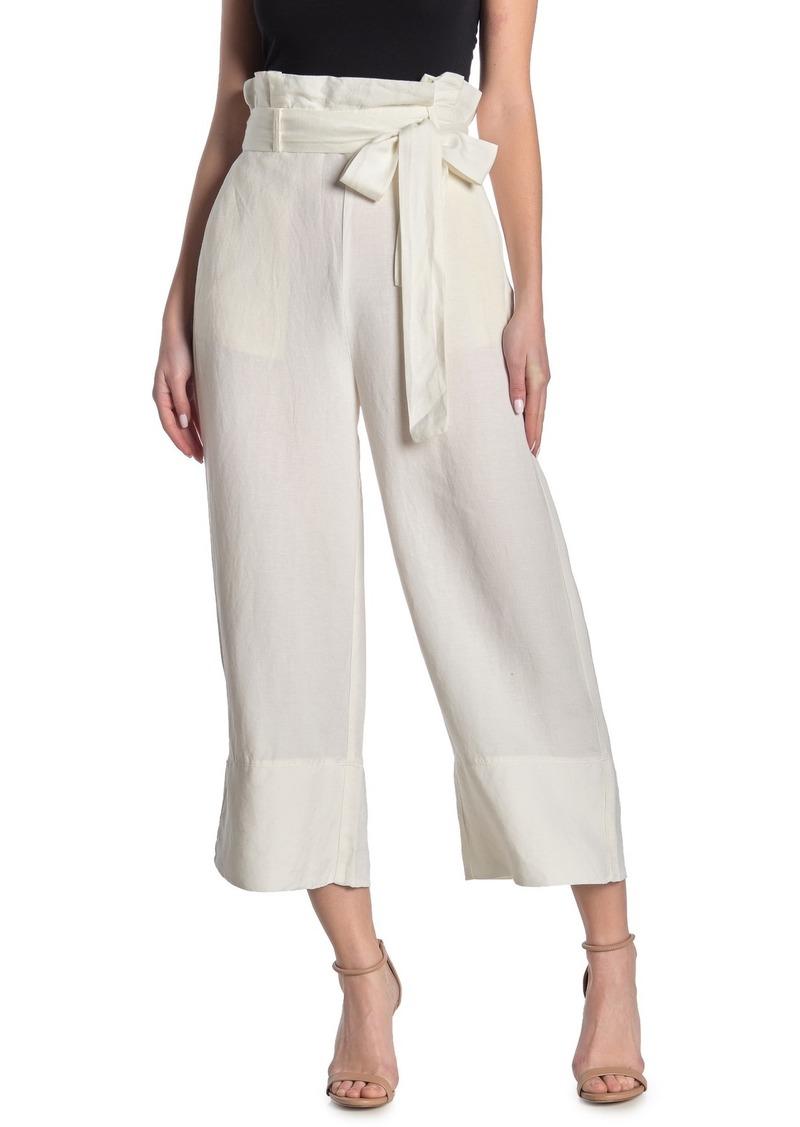 Blank Belted Wide Leg Linen Blend Paperbag Pants