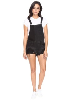 Blank Black Cut Off Overalls in Rock Steady