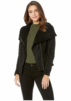 Blank Black Faux Suede Jacket with Zipper Detail in X-Factor