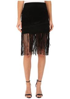 Blank Black Suede Fringe Skirt in Seal The Deal