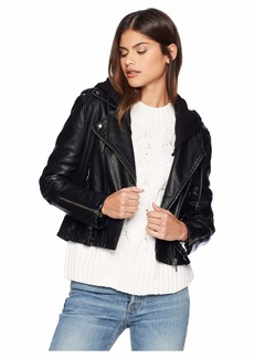 Blank Black Vegan Leather Jacket with Hooded Detail in Neo