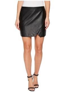 Blank Black Vegan Leather Mini Skirt in Black Ice
