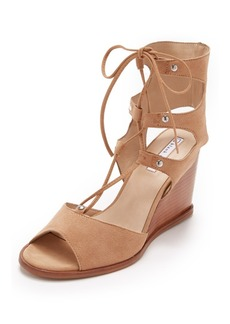 blank canvas Lace Up Wedge Sandals
