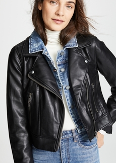 Blank Denim Double Layered Moto & Denim Jacket