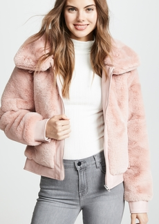Blank Denim Faux Fur and Vegan Leather Bomber Jacket
