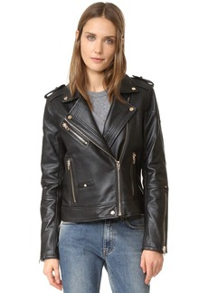 Blank Denim Leather Moto Jacket
