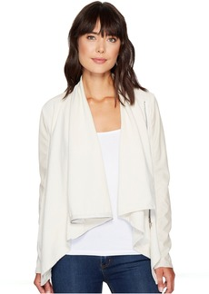Blank Beige Vegan Leather Sleeved Draped Jacket in Beige