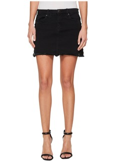 Blank Black Mini Skirt with Lacing and Zipper Detail in Be A Frayed