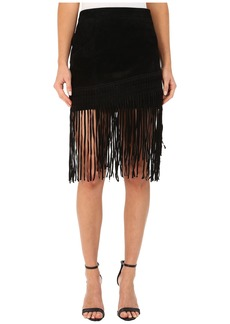 Blank NYC Black Suede Fringe Skirt in Seal The Deal
