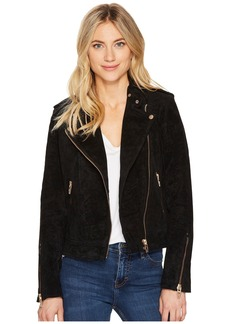 Blank Black Suede Moto Jacket in Onyx