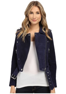 Blank Blue Suede Moto Jacket in Deep Blue/Navy