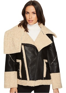 Blank Bonded Jacket with Faux Fur Shearling in Oatmeal Raison