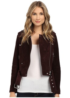 Blank Burgundy Suede Moto Jacket in Morning After