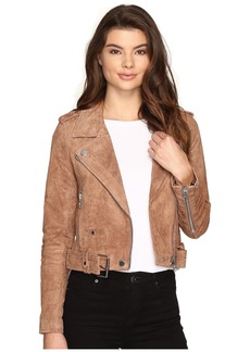 Blank Camel Suede Moto Jacket in Coffee Bean