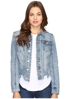 Blank NYC Denim Crop Cut Off Detail Jacket in Shark Bite