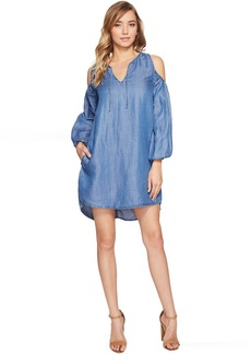 Blank NYC Denim Lace-Up Cold Shoulder Dress in Fluff Piece