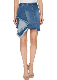 Blank Denim Ruffle Detail Skirt in The Blues