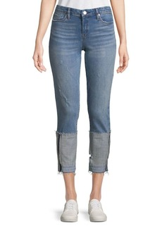 Blank Distressed Cropped Jeans
