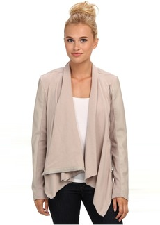 Blank NYC Draped Vegan Leather and Ponte Jacket in Taupe