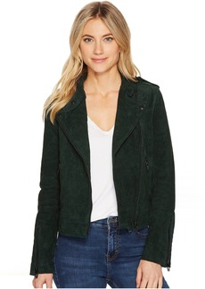 Blank Emerald Green Moto Suede Jacket in Ever Green