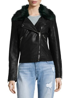 Blank Faux Fur Collar Moto Jacket