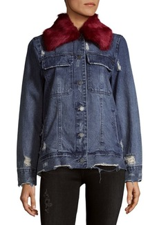 Blank Faux Fur-Trimmed Denim Jacket