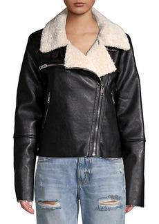 Blank NYC Faux Fur Trimmed Moto Jacket