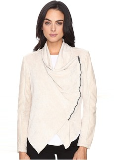 Blank NYC Faux Suede Beige Drape Front Jacket in Sunny Days