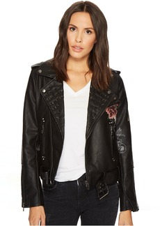 Blank NYC Floral Vegan Leather Moto Jacket in Love and Leave