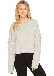 Blank NYC French Terry Long Sleeve with Beaded Fringe in No Joke