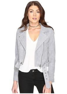 Blank Grey Suede Moto Jacket in Cloud Grey