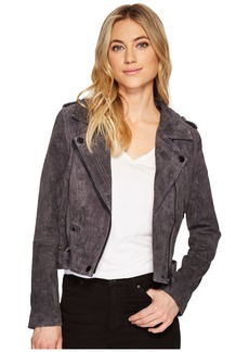 Blank Grey Suede Moto Jacket in Star Gazer