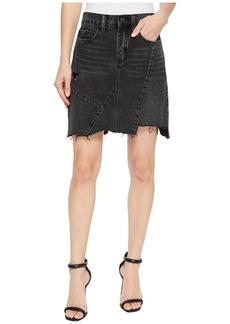 Blank High-Rise Asymmetric Mini Skirt in Black Ice
