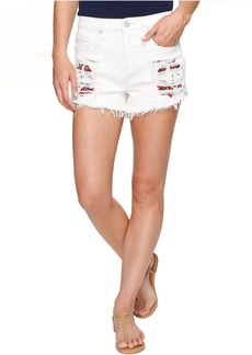 Blank High-Rise Shorts with Embroidered Detail in Lightbox White