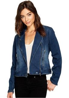 Blank NYC Jersey Blue Moto Jacket in Hello Moto