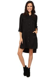 Blank NYC Long Black Button Down Dress Shirt in Night Life