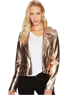 Blank NYC Metallic Moto Jacket in Rose Gold