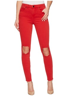 Blank Mid-Rise Distressed Skinny in Better Off-Red