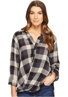 Blank NYC Multi Plaid Drape Front Shirt in Black Watch