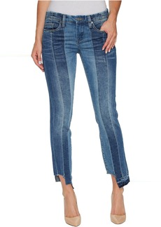 Blank Novelty Denim Skinny with Seaming Detail Contrast of Denim Washes in High and Low