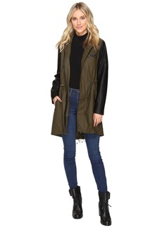 Blank NYC Olive/Black Vegan Leather Sleeve Trench Coat in Wicked Hard