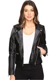 Blank NYC Real Leather/Suede Moto Jacket with Black and Grey Detail in Vices