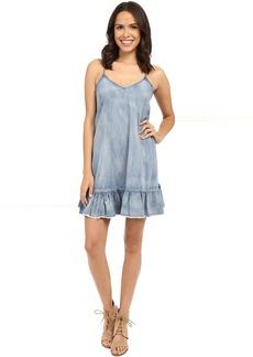 Blank NYC Ruffle Denim Dress in Next In Line