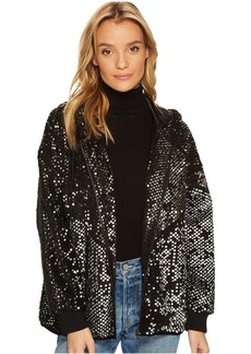 Silver Studded Sequined Bomber Jacket in Black Light