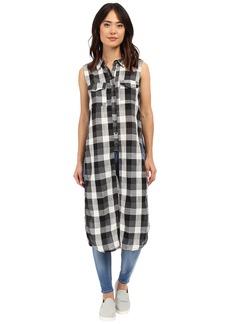 Blank NYC Sleeveless Plaid Shirt with Slits