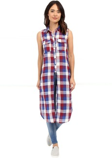 Blank NYC Sleeveless Plaid Shirt with Slits