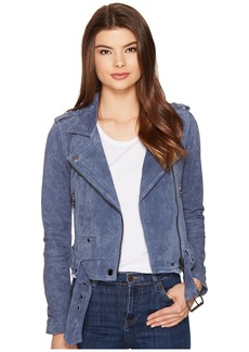 Blank Suede Moto Jacket in Slate Blue