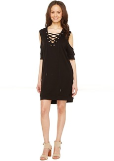 Blank NYC Sweatshirt Dress with Lace Detailing in Cold Shoulder