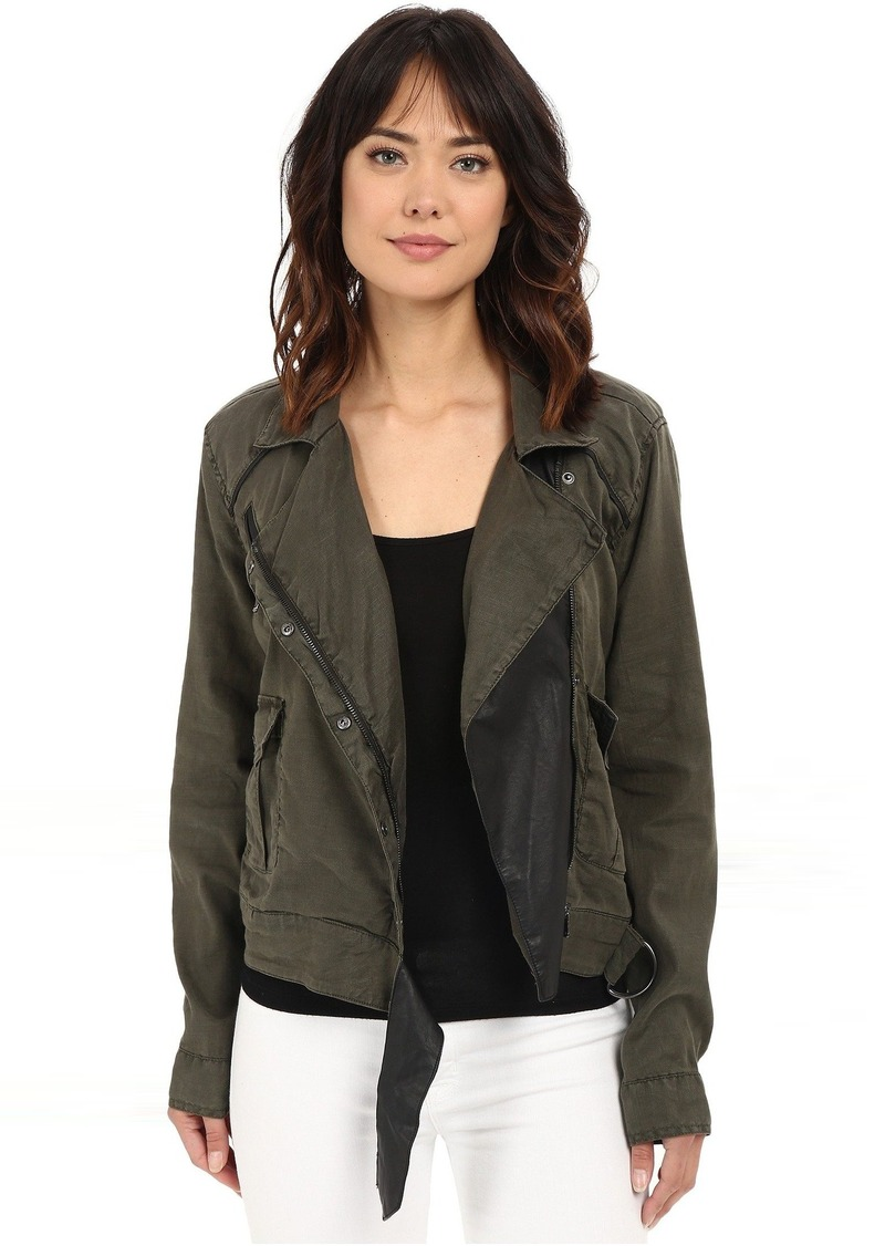 Blank NYC Utility Jacket with Black Vegan Leather Detail